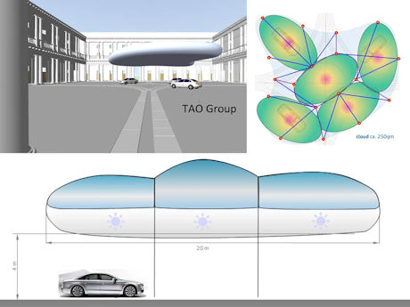 Attention guaranted: A flying helium cloud as a roof!